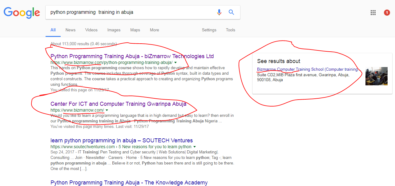 Digital marketing training in Abuja-google search and keyword research