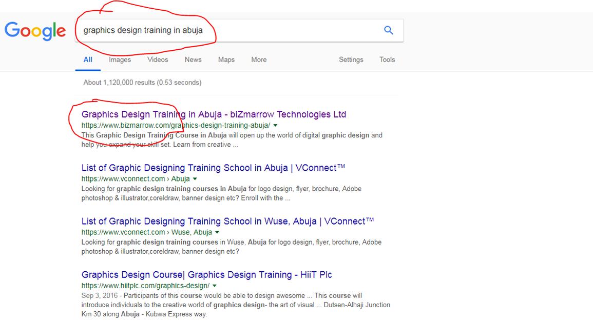 Digital Marketing masterclass graphics design training in Abuja. google result