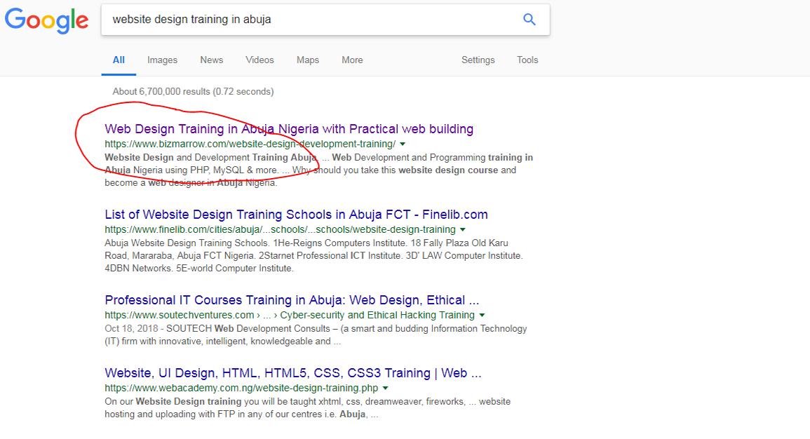 Digital Marketing masterclass website design training in Abuja. google result